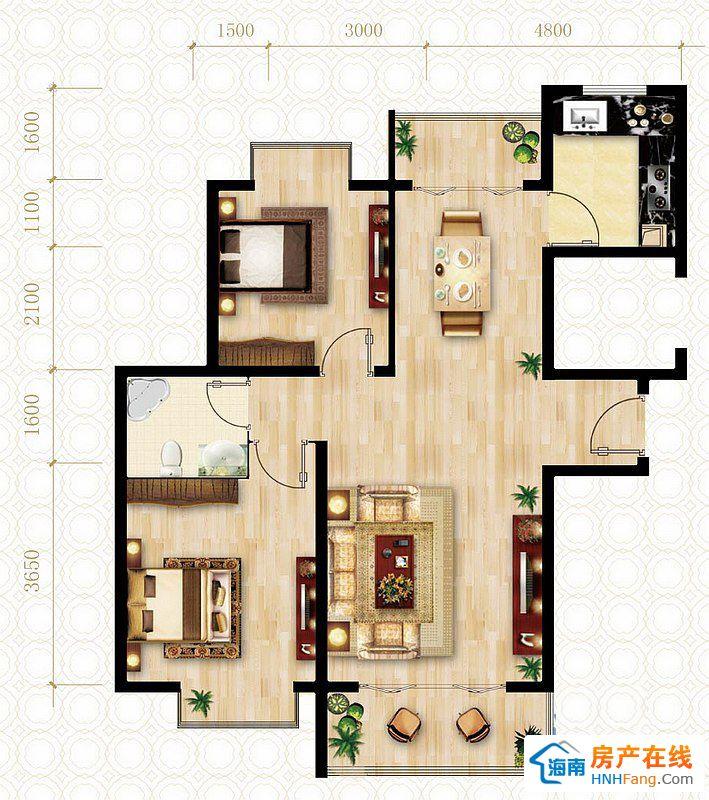 C户型图2室2厅1卫1厨 85.17㎡
