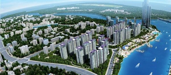 滨江海岸俯视小区效果图