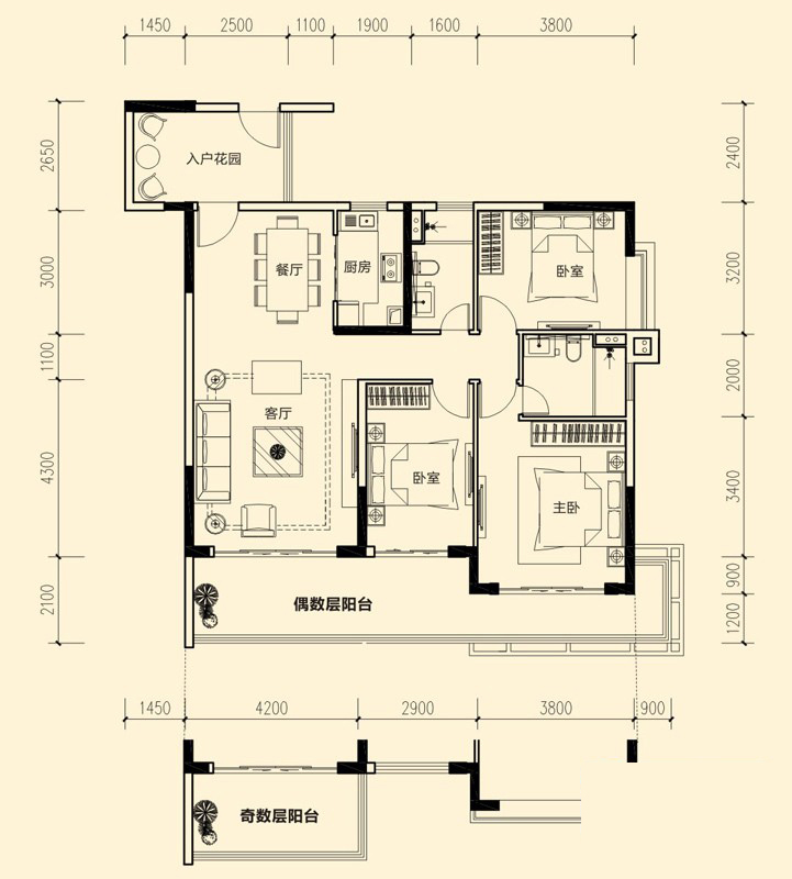 1#-01户型图3室2厅2卫 122.60㎡