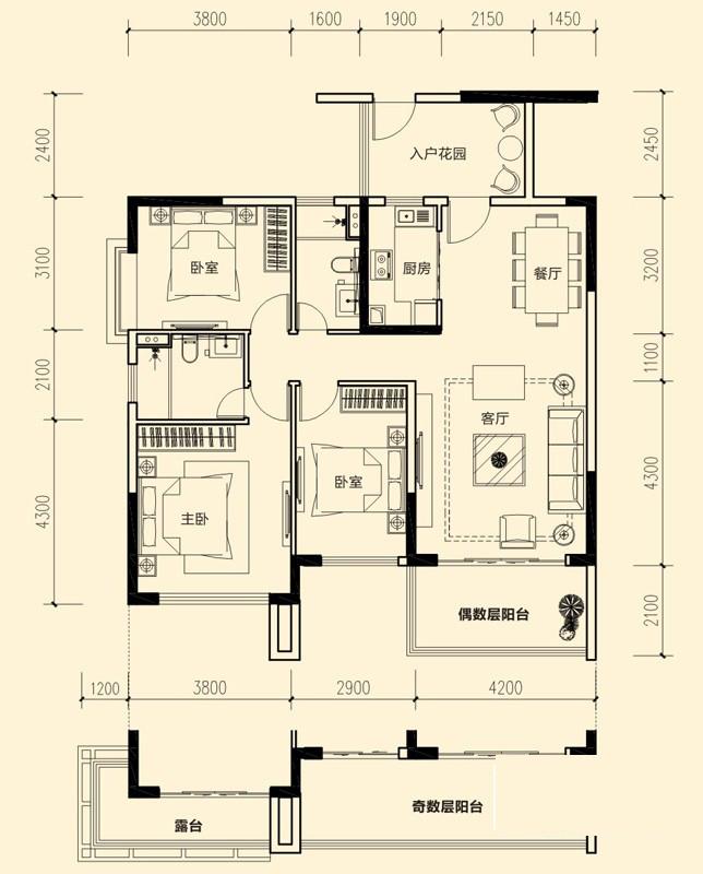 1#-02户型图3室2厅2卫 122.60㎡