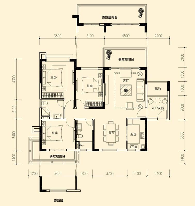 1#-03户型图3室2厅2卫 130.10㎡