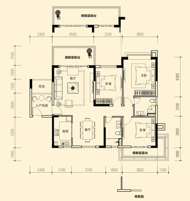 1#-04户型图3室2厅2卫 130.10㎡