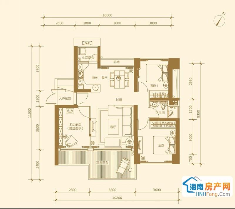 金悦府 5号楼 D-01 两室两厅一卫2室2厅1卫1厨 74.84㎡