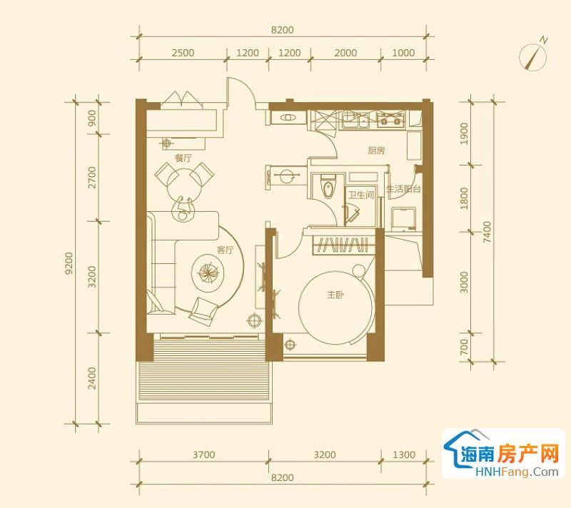 金悦府 5号楼 E-01 一室一厅一卫1室1厅1卫1厨 89.51㎡