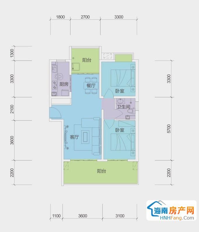 A户型G栋二房二厅一厨一卫2室2厅1卫1厨86.00㎡
