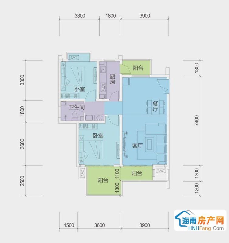A户型G栋二房二厅一厨一卫2室2厅1卫1厨89.00㎡