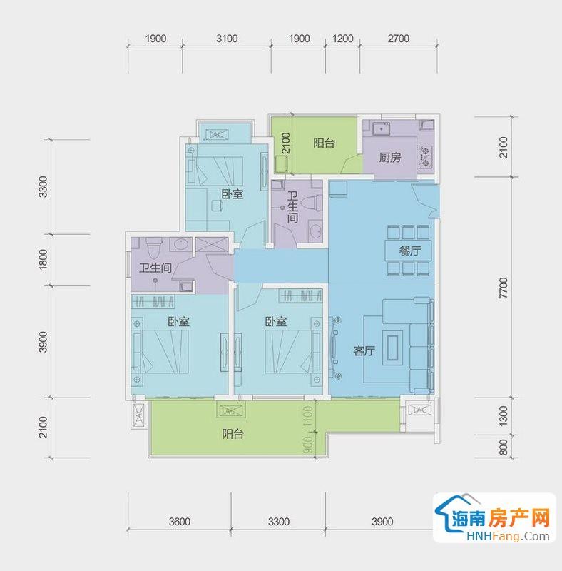 A户型G栋三房二厅一厨二卫3室2厅2卫1厨114.00㎡