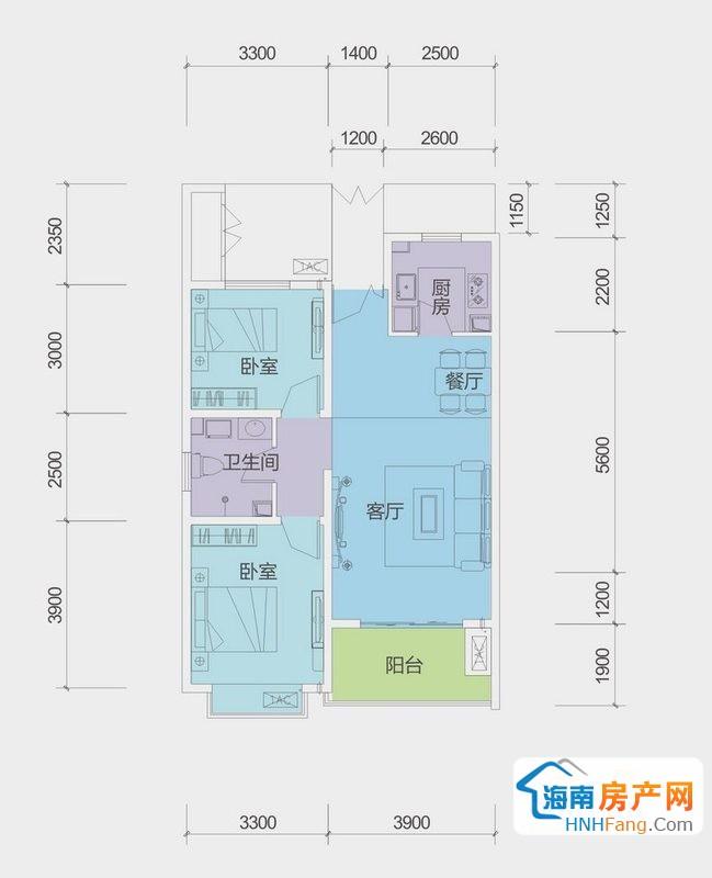 B户型G栋二房二厅一厨一卫2室2厅1卫1厨80.00㎡