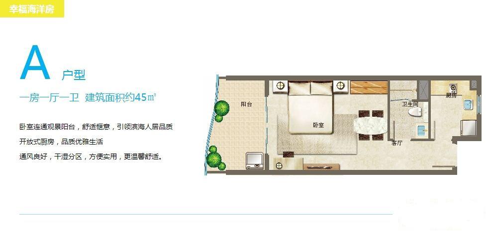 幸福海洋房A户型 1室1厅1卫1厨45㎡