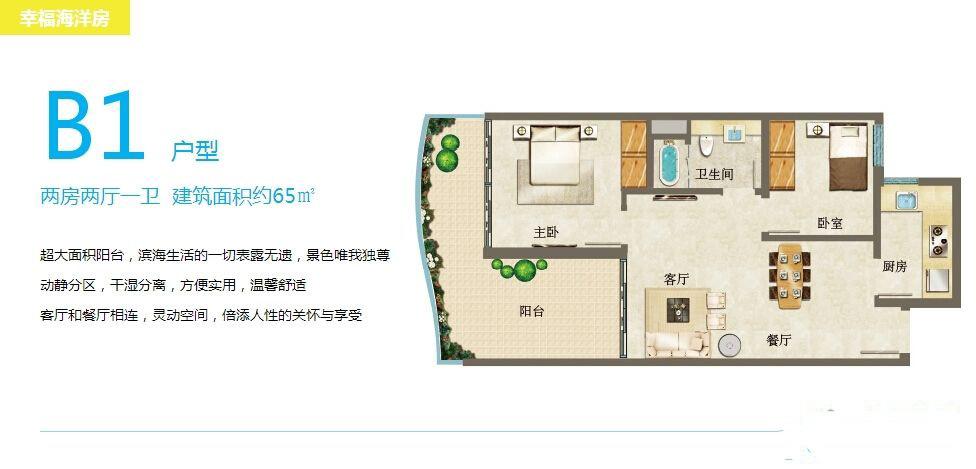 幸福海洋房B1户型 2室2厅1卫1厨65㎡