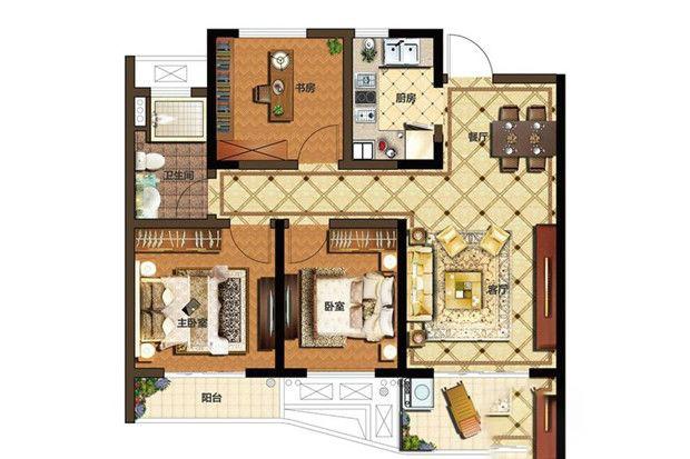 A1户型 3室2厅1厨1卫 94