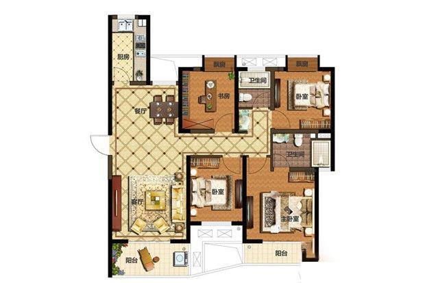 D1户型4室2厅1厨2卫 128