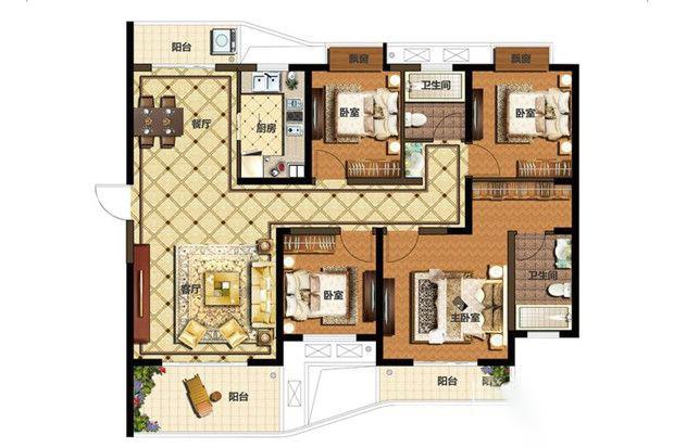 E1户型4室2厅1厨2卫 140