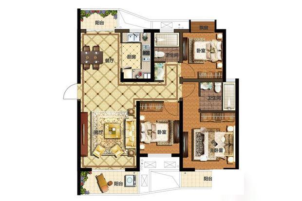 一期B3户型 3室2厅1厨2卫 115