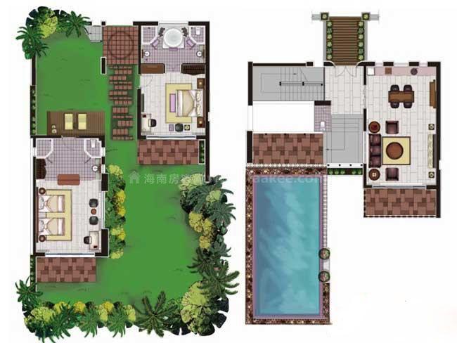 华凯南燕湾D别墅户型图2室2厅2卫1厨-149.50㎡