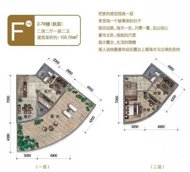 2-7#楼(跃层)F户型 2室2厅1厨2卫 建面105.76㎡