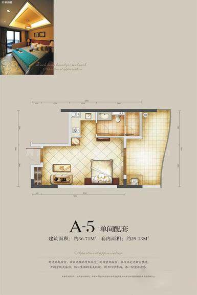 A-5户型 单间配套 建筑面积:约36.71㎡