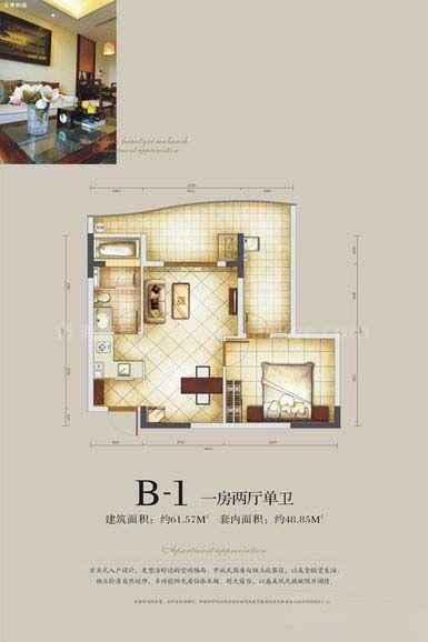 B-1户型 一两厅单卫 建筑面积:约61.52㎡
