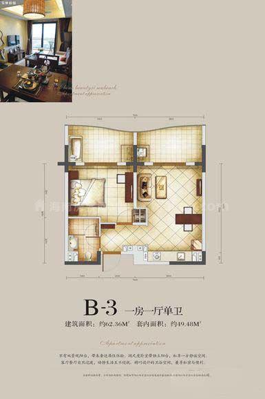 B-3户型 一房一厅单卫 建筑面积:约62.36㎡