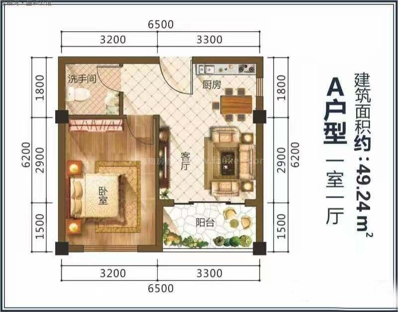 龙栖湾·盛和公馆A户型图 1室1厅1卫1厨  建筑面积49.24㎡