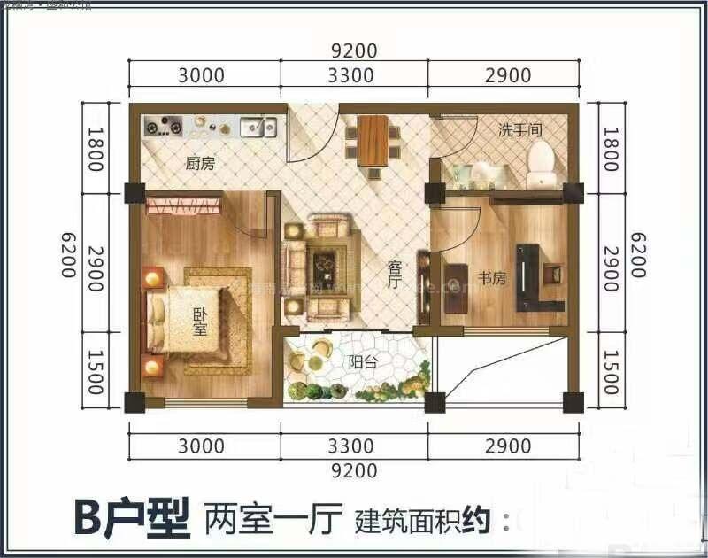 龙栖湾·盛和公馆B户型图 2室1厅1卫1厨  建筑面积66.29㎡
