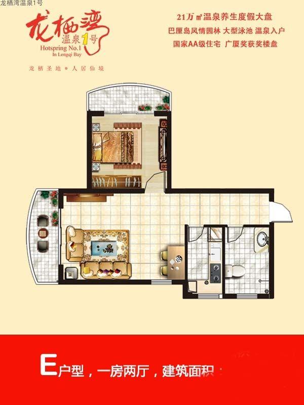 龙栖湾温泉1号E户型 1室2厅1卫1厨  建筑面积68㎡