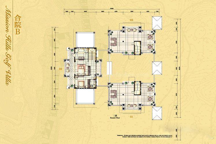 三合院别墅B户型 5室6厅3卫3厨 建面392.96㎡(二层)