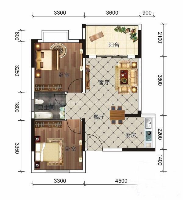 B8户型 2室1厅