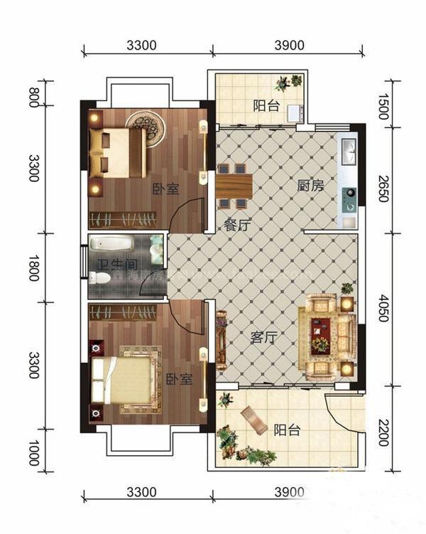 A8户型 2室1厅