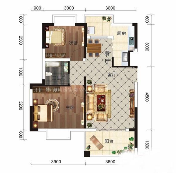 D8户型 2室1厅