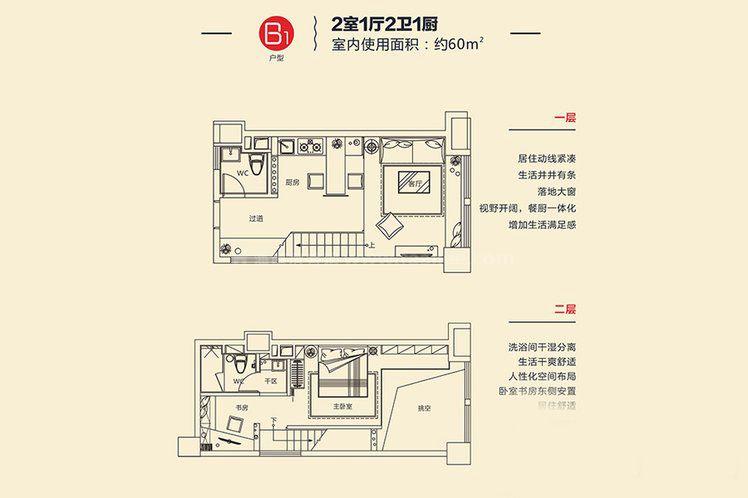 B1戶型 2室1廳2衛1廚 建面約60㎡