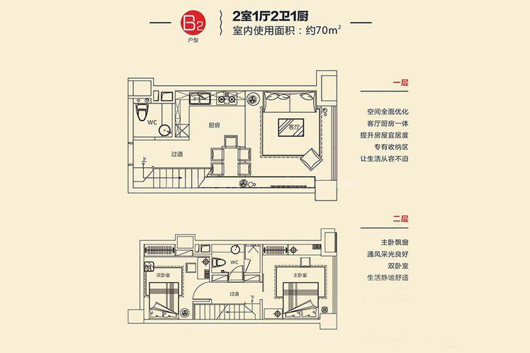 B2戶型 2室1廳2衛1廚 建面約70㎡