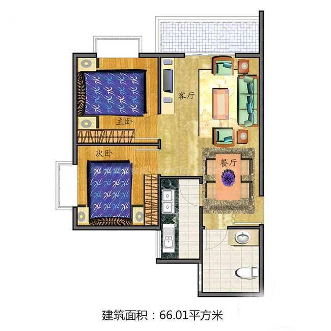 2室2厅1卫1厨  建筑面积66.01㎡