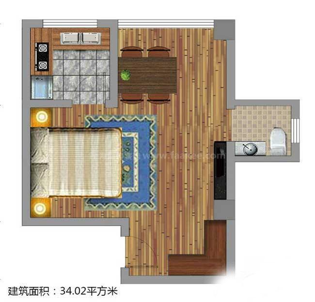 1室1厅1卫1厨  建筑面积34.02㎡