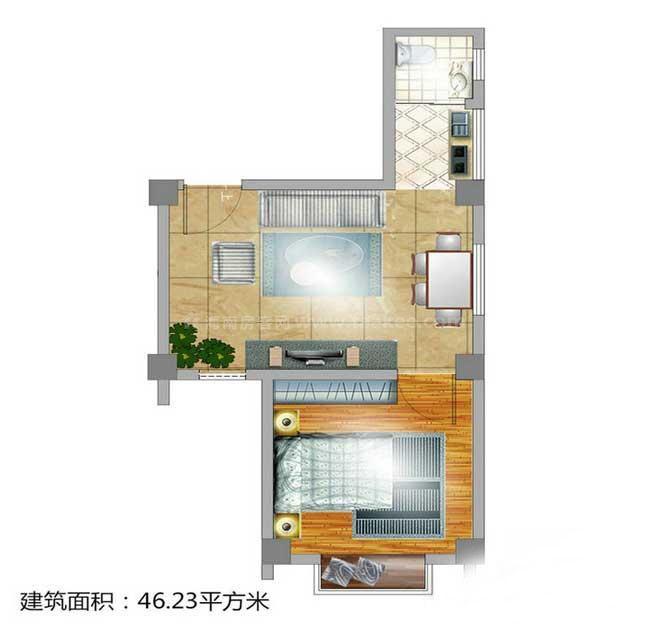 1室1厅1卫1厨  建筑面积46.23㎡