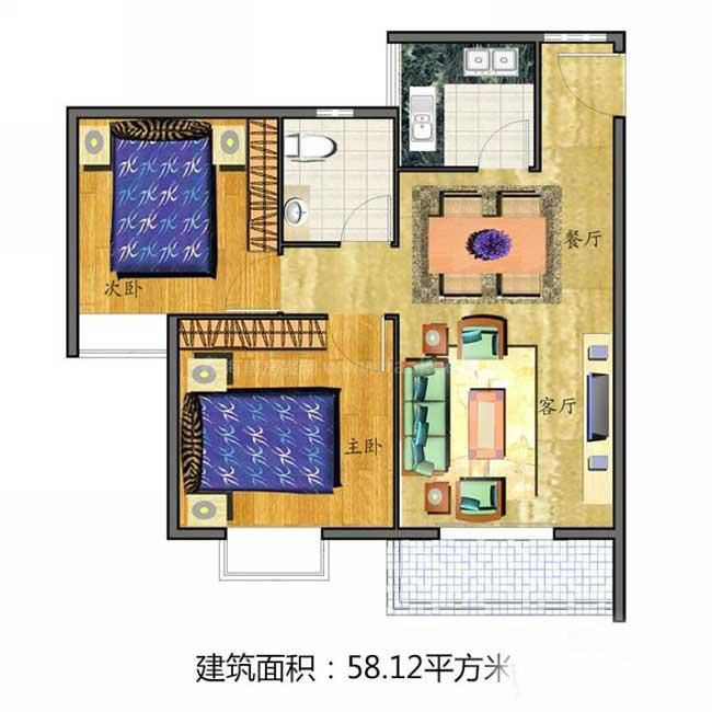 2室2厅1卫1厨  建筑面积58.12㎡