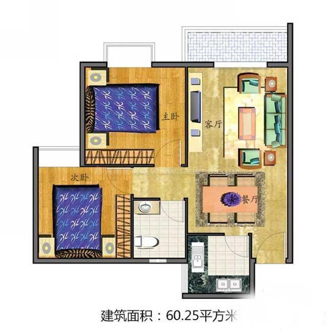 2室2厅1卫1厨  建筑面积60.25㎡