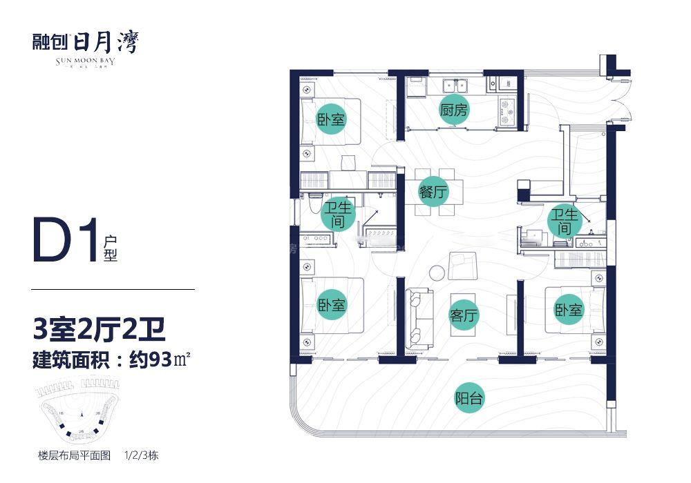 D1戶型 3房2廳2衛 建面93㎡