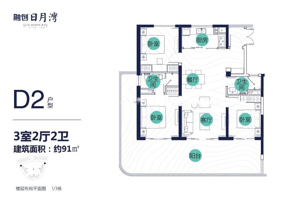 D2戶型 3房2廳2衛 建面91㎡