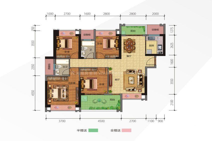 7号楼2单元1户型 4室2厅2卫1厨 建筑面积约131.31平米
