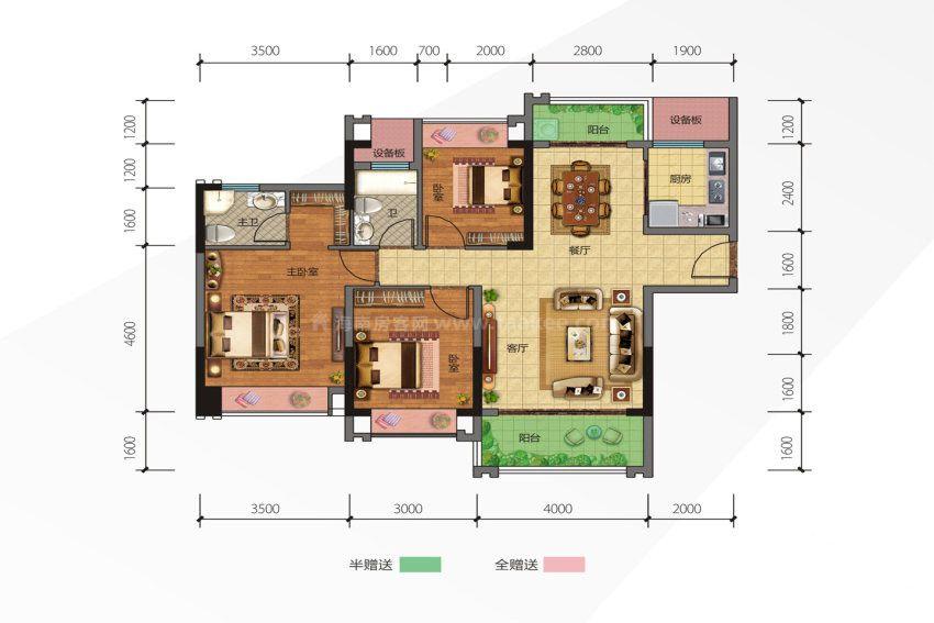 1号楼1户型 3室2厅2卫1厨 建筑面积约109.41平米