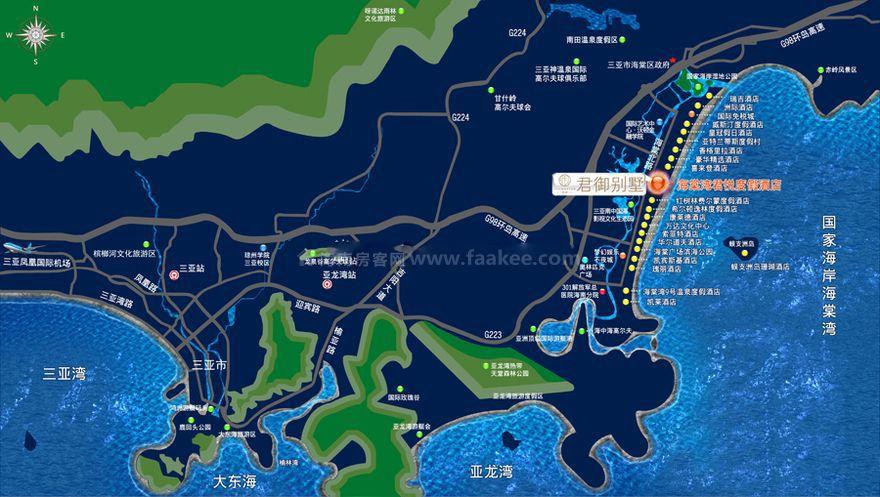 海棠湾君御交通图