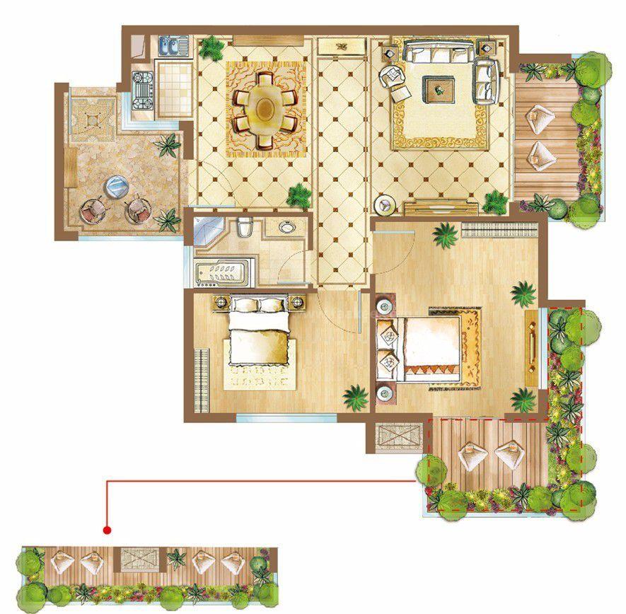 1-4#A1/A2户型 2房1厅1厨1卫 85.41㎡