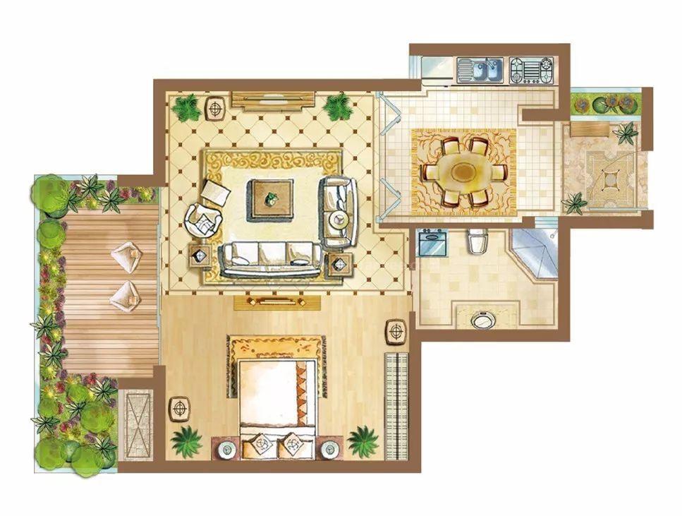 1-4#B5/B6户型 1房1厅1厨1卫 52.53㎡