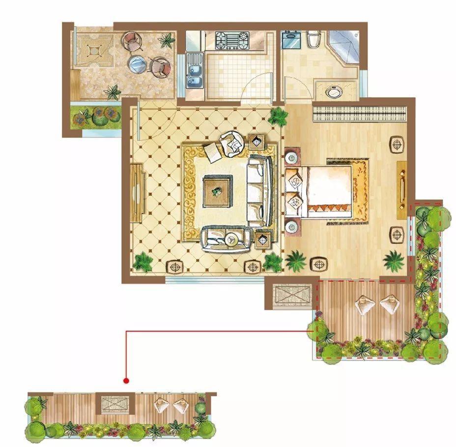 1-4#B1/B2户型 1房1厅1厨1卫 56.72㎡