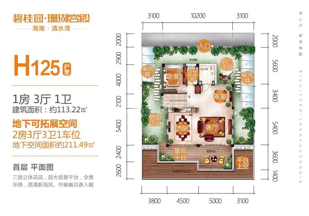 别墅H125户型 首层 1房3厅1厨1卫 133.22㎡
