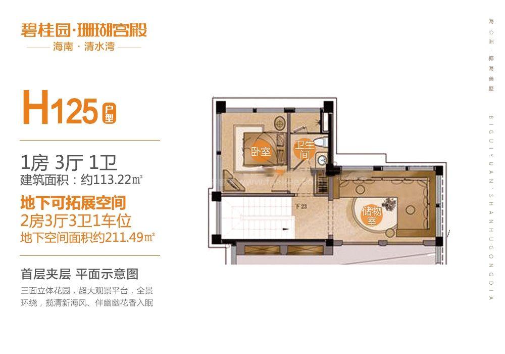 别墅H125户型 首层夹层 1房3厅1厨1卫 133.22㎡