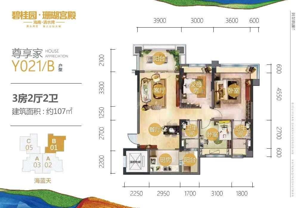 三期尊享家Y021-B户型 3房2厅2卫 建面107㎡