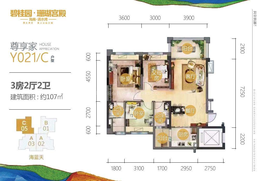 三期尊享家Y021-C户型 3房2厅2卫 107㎡