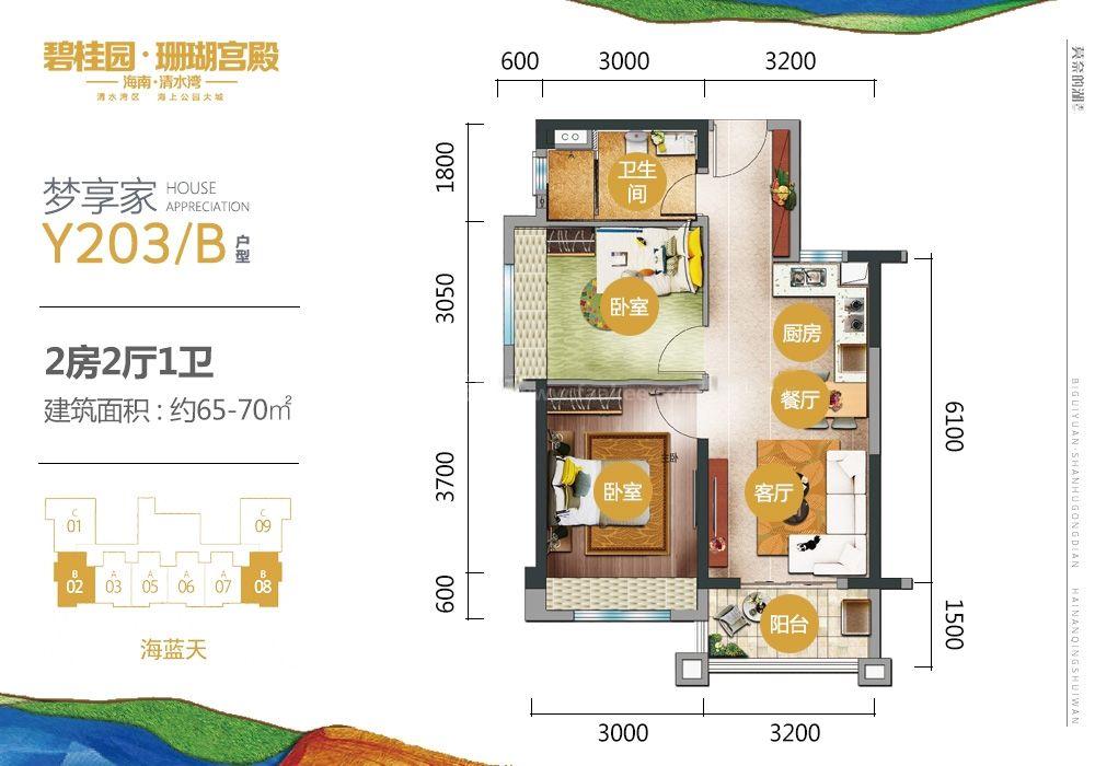 三期梦享家Y203B户型 2房2厅1厨1卫 65-70㎡